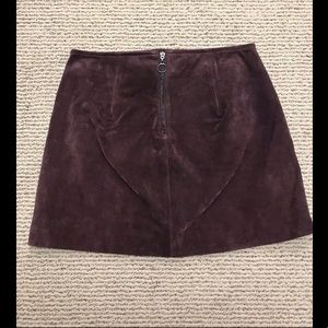 BLANK NYC Blackberry Suede Leather Mini Skirt